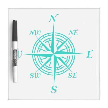 Beach Themed Turquoise On White Compass Rose Dry Erase Board