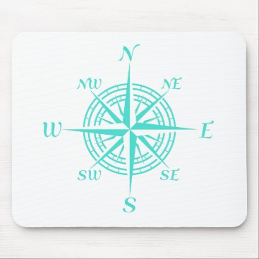 Beach Themed Turquoise On White Compass Rose Mouse Pad