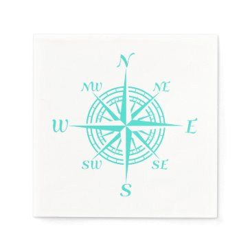 Beach Themed Turquoise On White Compass Rose Paper Napkin