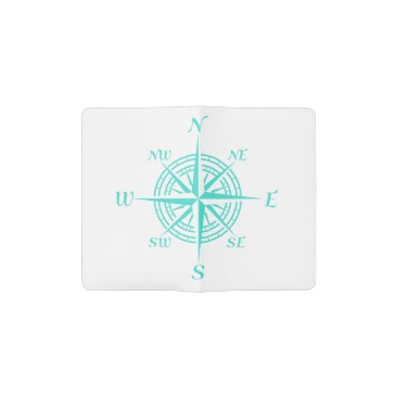 Beach Themed Turquoise On White Compass Rose Pocket Moleskine Notebook