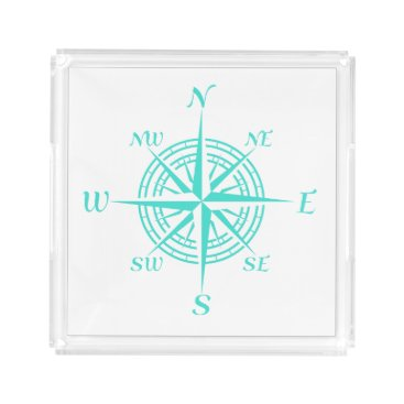 Beach Themed Turquoise On White Compass Rose Serving Tray