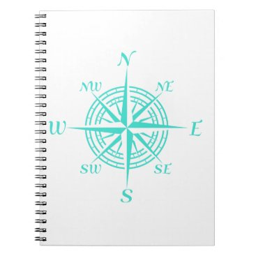 Beach Themed Turquoise On White Compass Rose Spiral Notebook
