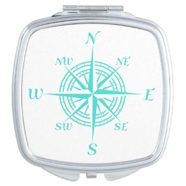 Beach Themed Turquoise On White Compass Rose Vanity Mirror