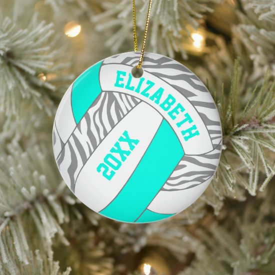 turquoise or ANY COLOR w gray zebra volleyball Ceramic Ornament