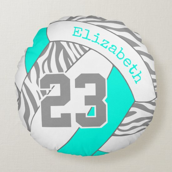 turquoise or ANY COLOR w gray zebra volleyball Round Pillow