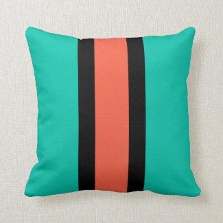 Turquoise, Orange and Black Throw Pillow