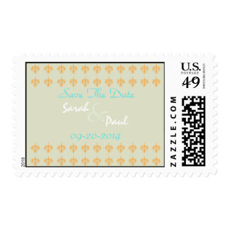 Turquoise,Orange and Meadow Damask Save The Date S Postage