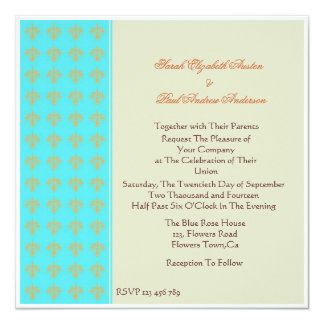 Turquoise,Orange and Meadow Damask Wedding Invitat Card