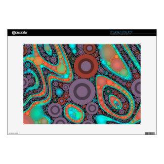 "Turquoise Orange Circle Abstract 15"" Laptop Decal"