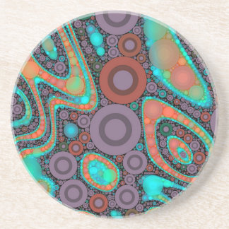 Turquoise Orange Circle Abstract Sandstone Coaster