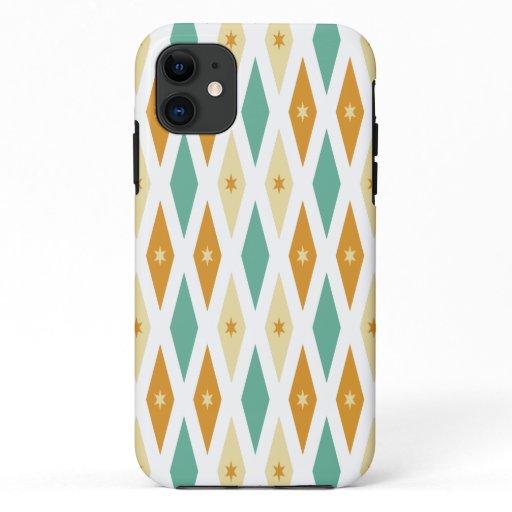 Turquoise Orange Cream Diamonds Stars Mid Century iPhone 11 Case