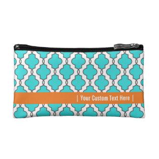 Turquoise & Orange Geometric Ornate Cosmetic Bag