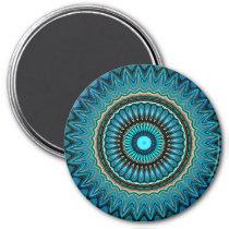 Turquoise Orange Green Mandala Round Star Pattern Magnet