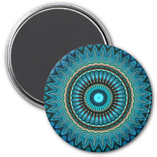 Turquoise Orange Green Mandala Round Star Pattern Magnet