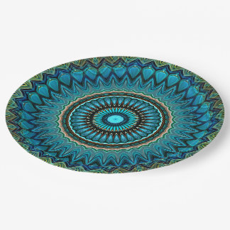 Turquoise Orange Green Mandala Round Star Pattern Paper Plate