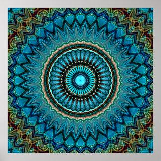 Turquoise Orange Green Mandala Round Star Pattern Poster