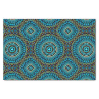 Turquoise Orange Green Mandala Round Star Pattern Tissue Paper