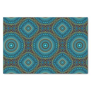 DeskDrawer Turquoise Orange Green Mandala Round Star Pattern Tissue Paper
