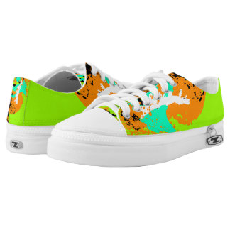 Turquoise Orange Green White Black Color Run Printed Shoes