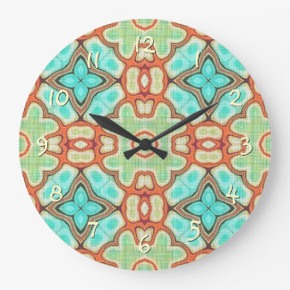 Turquoise Orange Lime Green Hip Ornate Art Motif Large Clock