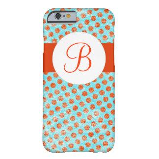 Turquoise orange polka dots monogram iphone 6 case