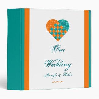 Turquoise Orange Ribbon Heart Wedding Binder