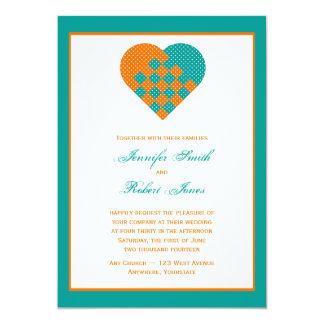 Turquoise Orange Ribbon Heart Wedding Invitation