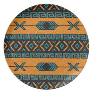Turquoise Orange Tribal Aztec Pattern Southwestern Plate