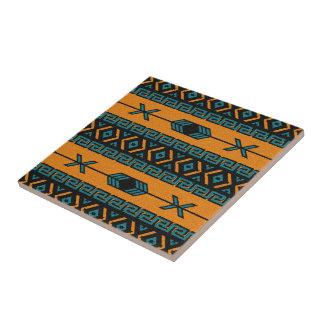 Turquoise Orange Tribal Southwest Aztec Pattern Tile