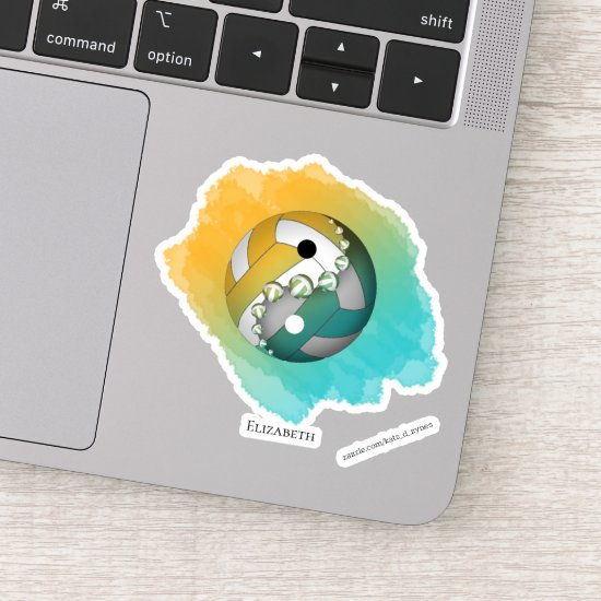 turquoise orange watercolor yin yang volleyball sticker