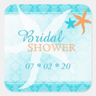 Turquoise Orange White Beach Bridal Shower Sticker