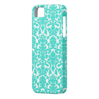 Turquoise Ornate Floral Damask Pattern iPhone 5 Cover