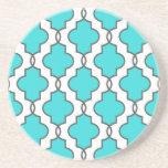Turquoise Ornate Geometric Sandstone Coasters