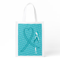 TURQUOISE OVARIAN CANCER AWARENESS RIBBONS GROCERY BAG