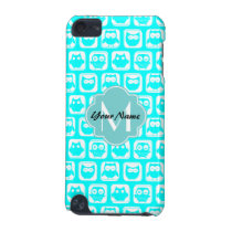 Turquoise Owl Pattern Aqua Personalized Name iPod Touch 5G Case