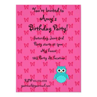 Turquoise owl pink butterflies custom announcement