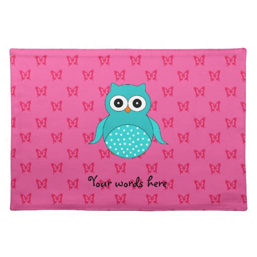 Turquoise owl pink butterflies placemats