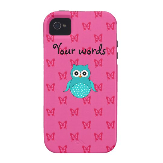 Turquoise owl pink butterflies vibe iPhone 4 case