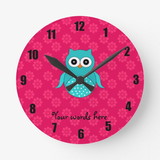 Turquoise owl pink flowers clock