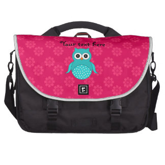 Turquoise owl pink flowers laptop bag