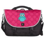 Turquoise owl pink flowers laptop messenger bag