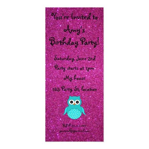 "Turquoise owl pink glitter 4"" x 9.25"" invitation card"