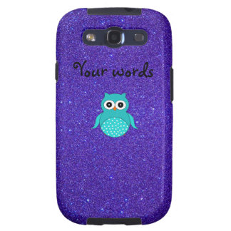 Turquoise owl purple glitter galaxy s3 cases
