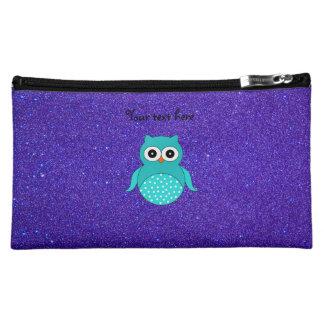 Turquoise owl purple glitter cosmetic bag