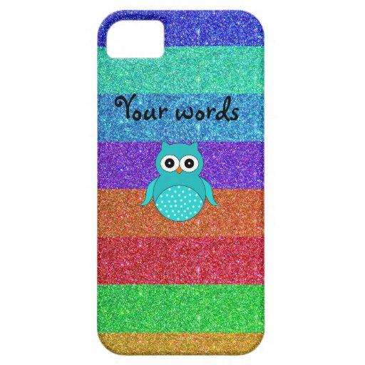 Turquoise owl rainbow glitter iPhone SE/5/5s case