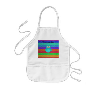 Turquoise owl rainbow glitter kids' apron
