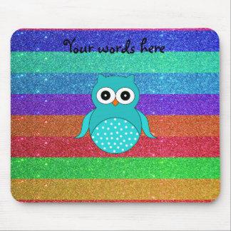 Turquoise owl rainbow glitter mouse pad