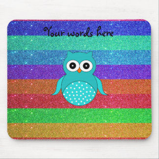 Turquoise owl rainbow glitter mouse pad