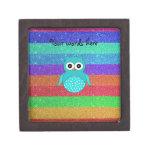 Turquoise owl rainbow glitter premium gift box