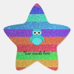 Turquoise owl rainbow glitter star sticker